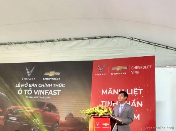 Ông Nguyễn Văn Trường, thay mặt lãnh đạo đại lý Chevrolet Vinh phát biểu tại buổi lễ