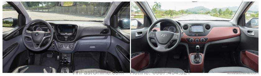 So sánh xe VinFast Fadil cao cấp và Hyundai Grand i10 1.2L AT về tiện nghi