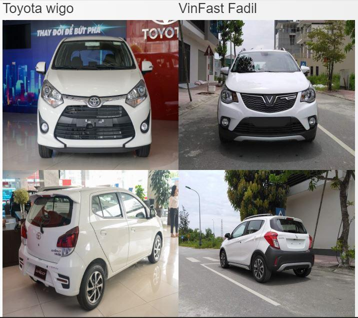 So sánh xeVinFast Fadil và Toyota Wigo