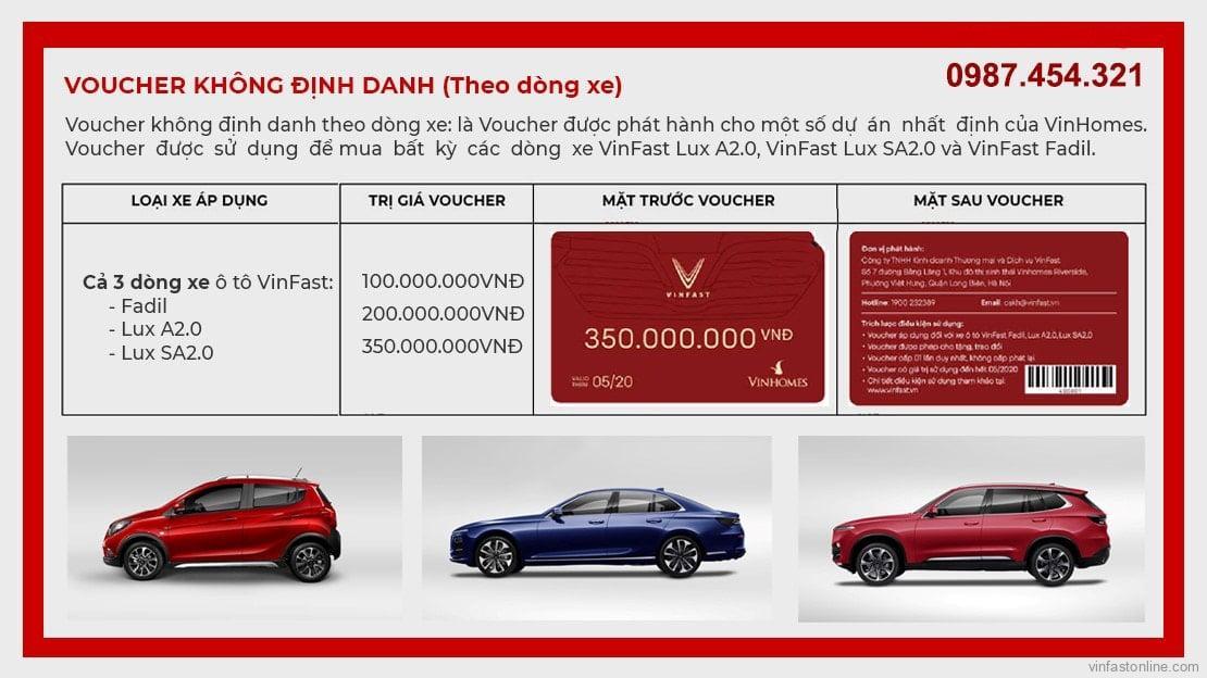 Voucher mua xe VinFast không định danh