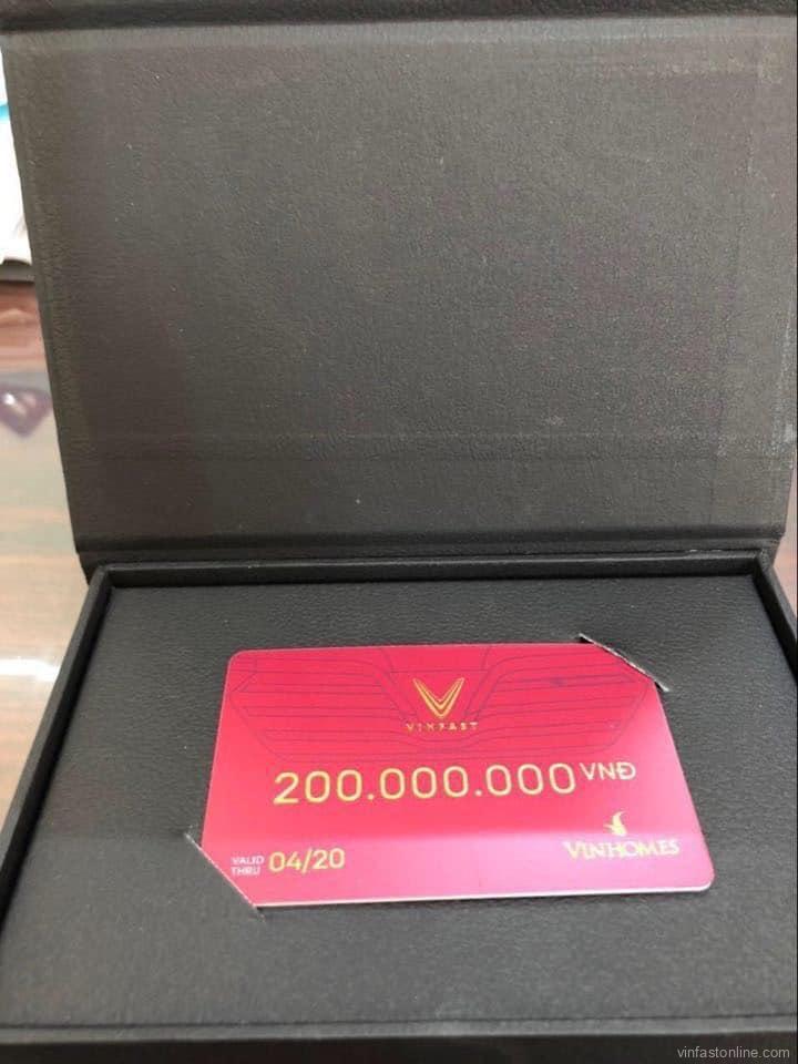 Voucher mua xe VinFast không định danh loại 200 triệu