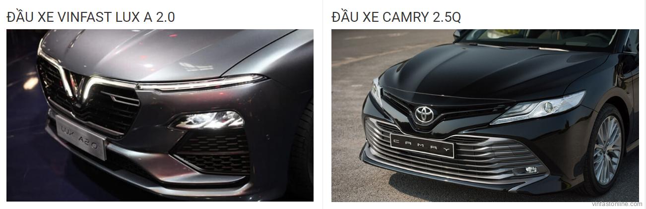 so sánh đầu xe vinfast lux a 2.0 và toyota camry 2.5Q