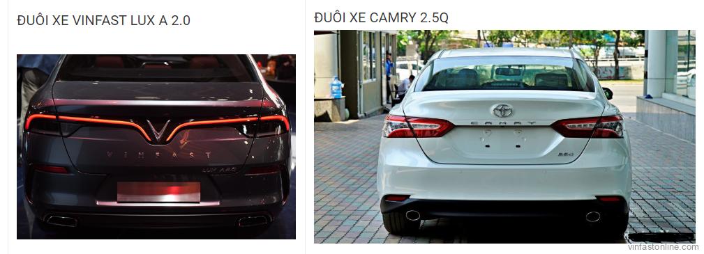 So sánh đuôi xe VinFast Lux A 2.0 và Toyota Camry 2.5Q