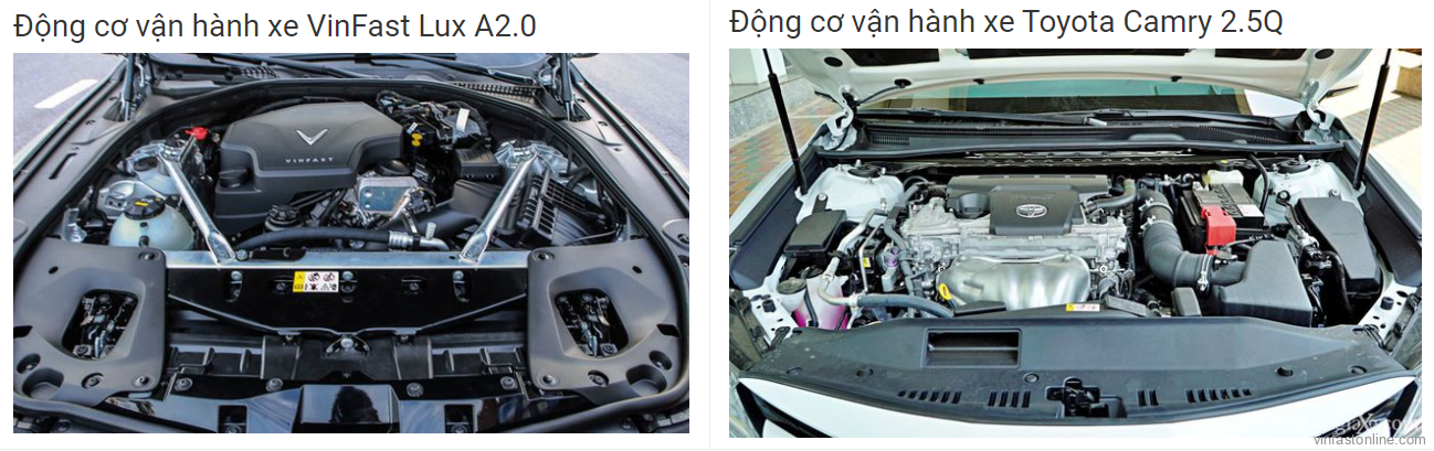So sánh động cơ vận hành xe VinFast Lux A2.0 và Toyota Camry 2.5Q